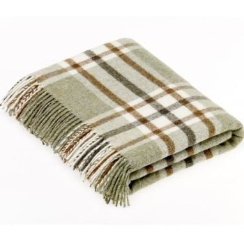 BRONTE by Moon Arncliffe Sage Green Check Throw in 100% Shetland Pure New Wool