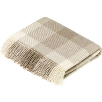 BRONTE by Moon Beige & Cream Classic Check Throw in supersoft Merino Lambswool