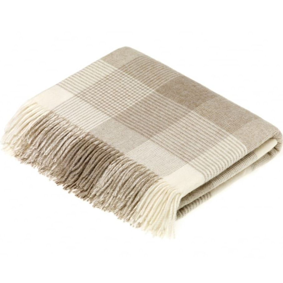 BRONTE by Moon Beige & Cream Classic Check Throw in supersoft Merino Lambsw