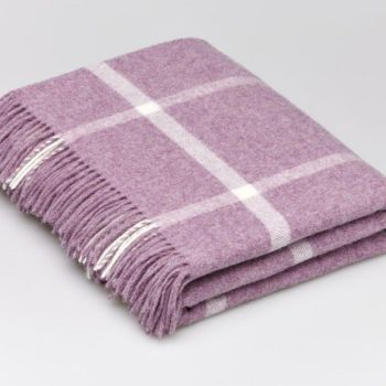 BRONTE by Moon Lilac & Cream Windowpane Throw in Supersoft Merino Lambswool