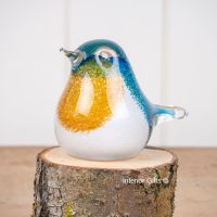 Glass Blue Tit Bird Sculpture / Paperweight - Handmade