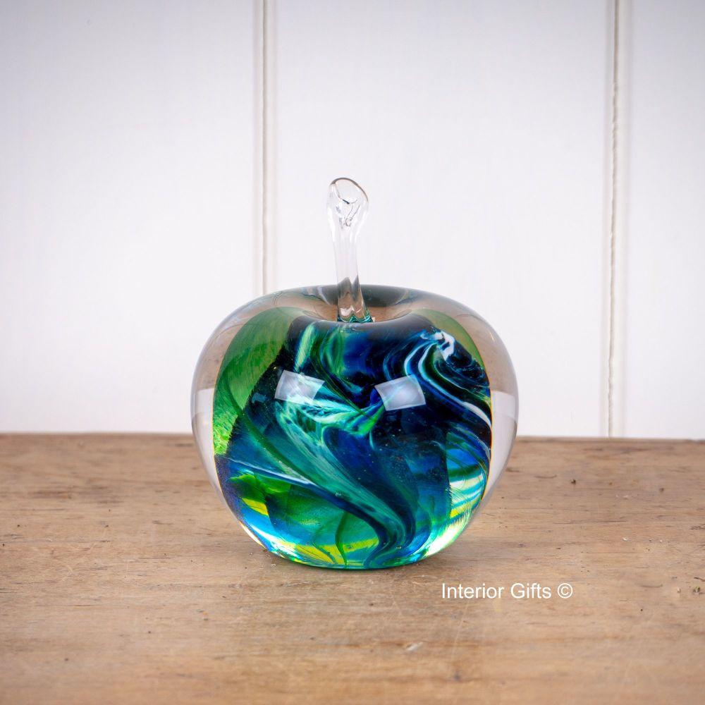 Glass Apple Green Sculpture / Paperweight - Handmade