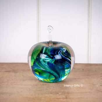 Glass Apple Sculpture Green / Blue Paperweight - Handmade