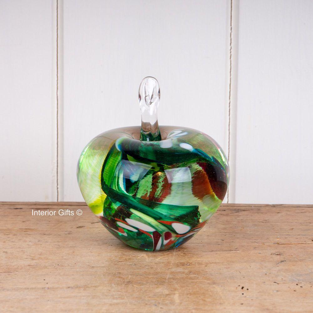 Glass Apple Green  & Red Sculpture / Paperweight - Handmade