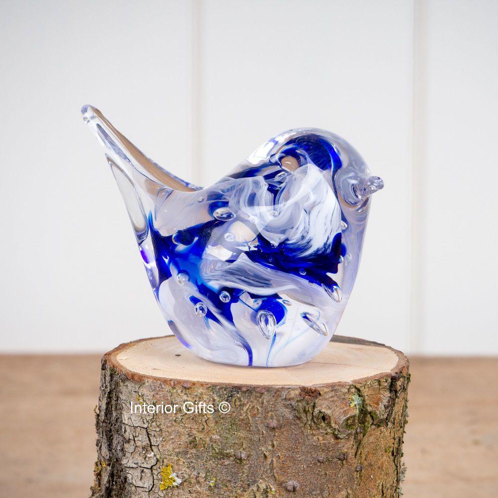 Glass Blue Bird Sculpture / Paperweight - Handmade