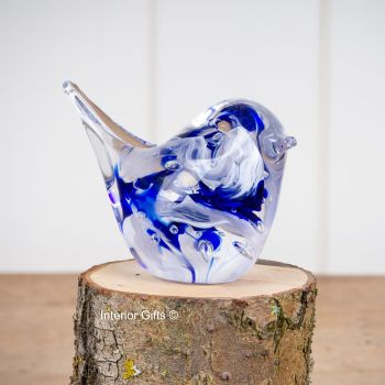 Glass Blue Bird Sculpture / Paperweight - Handmade