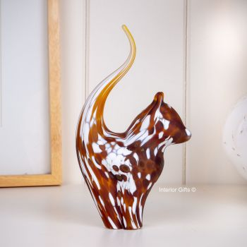 Glass Cat Sculpture Ginger  Frosted Medium- Handmade
