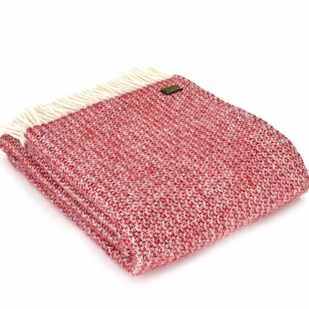 Tweedmill Red & Silver Grey Ascot Pure New Wool Throw Blanket