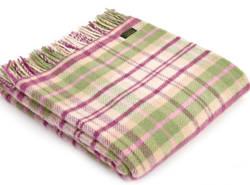 Tweedmill Pink & Green Check Pure New Wool Throw Blanket