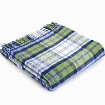 Tweedmill Country Cottage Check Blue Pure New Wool Throw Blanket