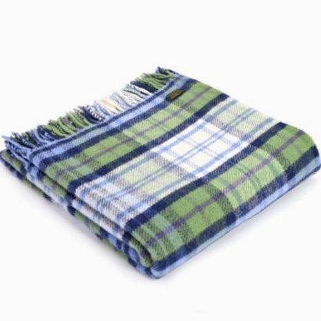 Tweedmill Blue, Green & Cream Check Pure New Wool Throw Blanket