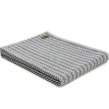 Navy Blue & Cream Organic Cotton Herringbone Throw