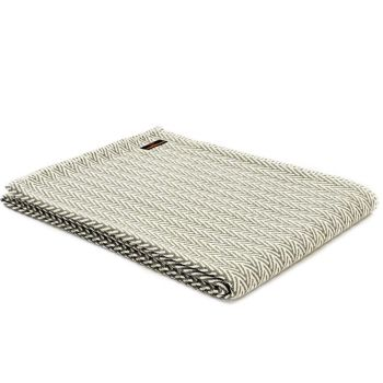 Olive Green & Cream Organic Cotton Herringbone Throw