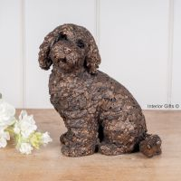 JASPER COCKAPOO SITTING Frith Bronze Sculpture by Adrian Tinsley