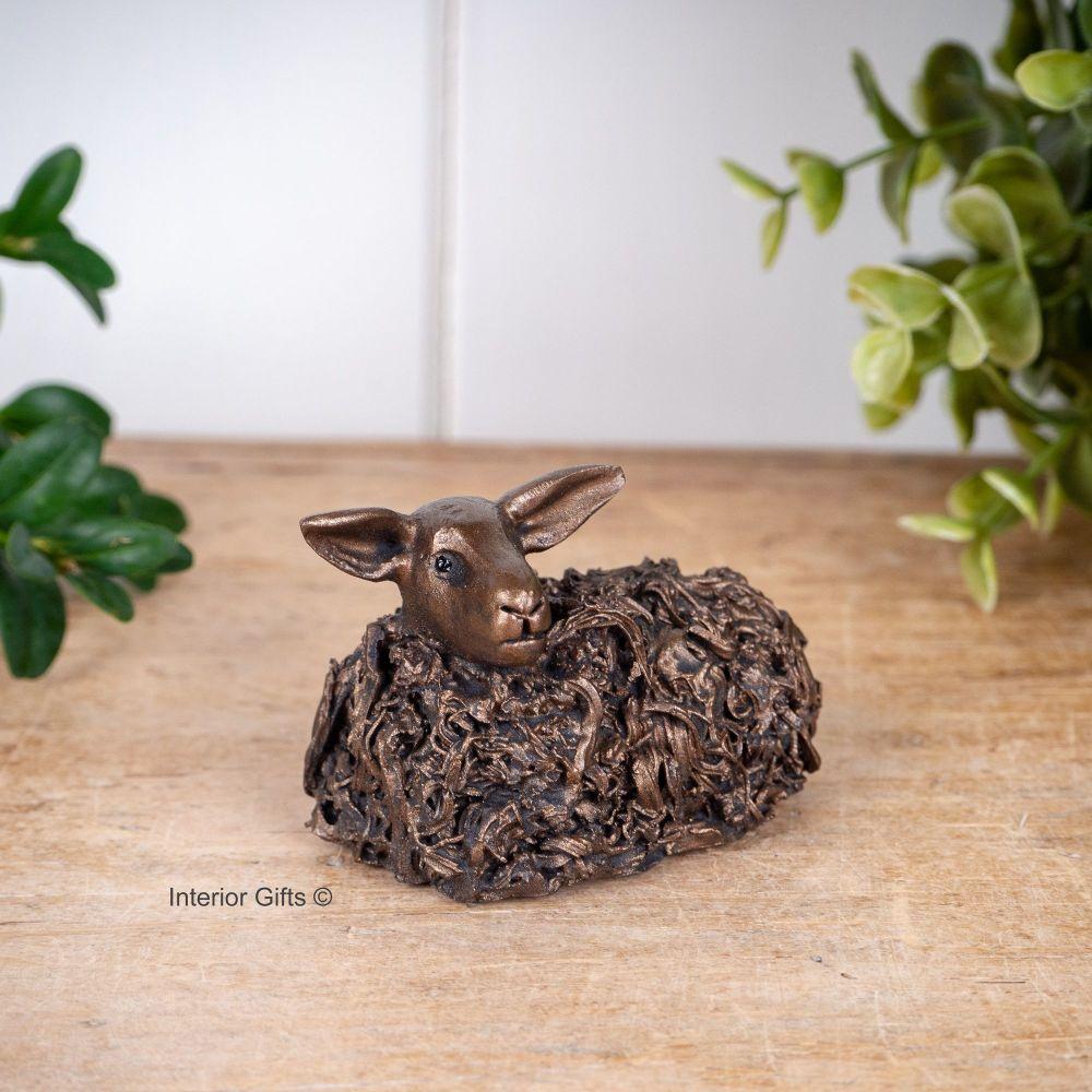 SHEEP SITTING Frith Bronze Sculpture  Miniature *NEW* by Veronica Ballan