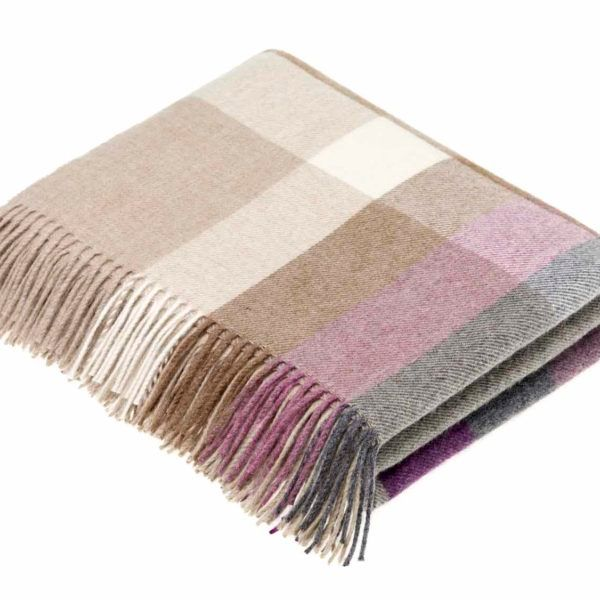 BRONTE by Moon Harley Stripe Clover Throw in Supersoft Merino Lambswool