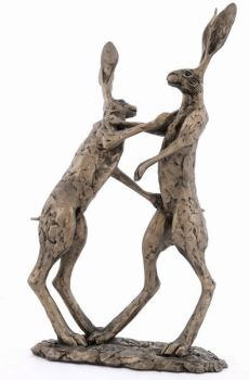 Hannah & Hamish Pair Boxing Hares Frith Bronze Sculpture by Paul Jenkins