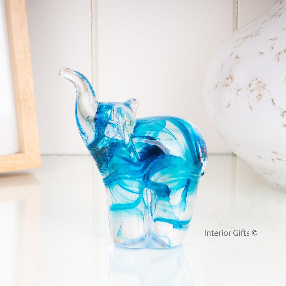 Glass Copper Blue Elephant Sculpture Small - Handmade