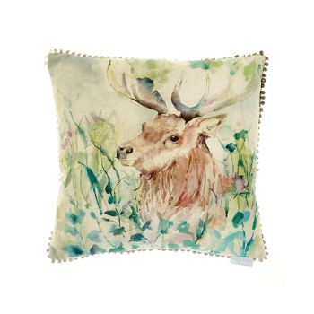 Voyage Oak View Stag Square Country Mini Arthouse Cushion Small  - 30 x 30 cm