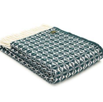 Tweedmill Emerald Green & Cream Throw Blanket Pure New Wool