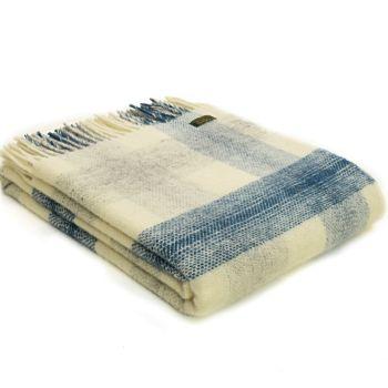 Tweedmill Meadow Check Ink Blue Pure New Wool Throw Blanket