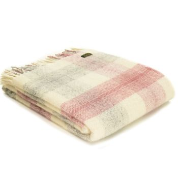 Tweedmill Meadow Check Dusky Pink & Cream Pure New Wool Throw Blanket