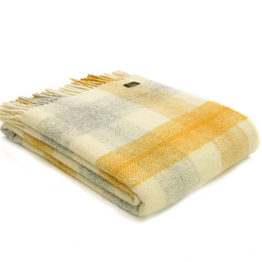Tweedmill Meadow Check Yellow & Cream Pure New Wool Throw Blanket