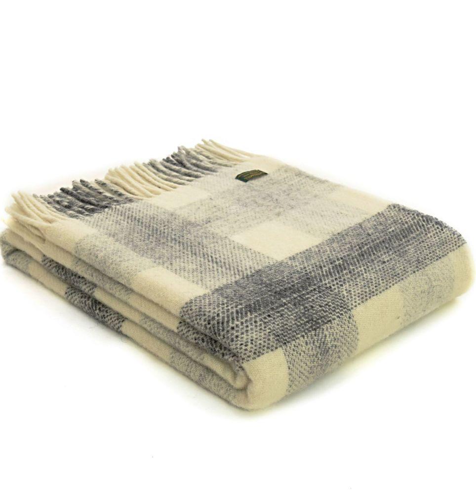 Tweedmill Meadow Check Slate Grey & Cream Pure New Wool Throw Blanket