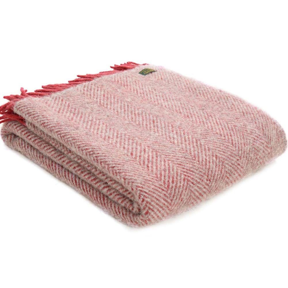 Tweedmill Watermelon Red & Silver Grey Herringbone Pure New Wool Throw Blan
