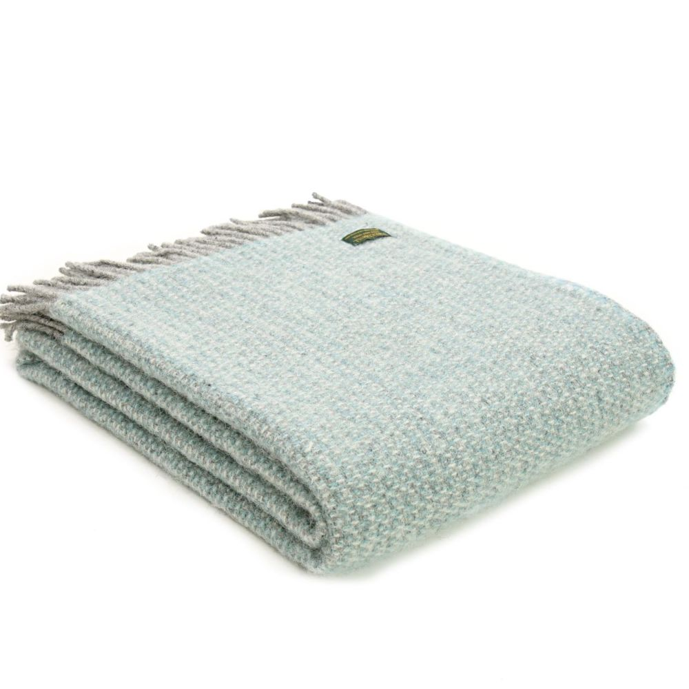 Tweedmill Spearment Blue and Grey Ascot Pure New Wool Throw Blanket