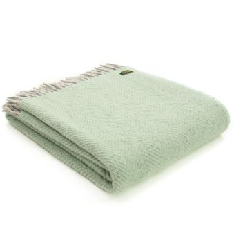 Tweedmill Laurel Green & Silver Grey Knee Rug or Small Blanket Throw Pure New Wool