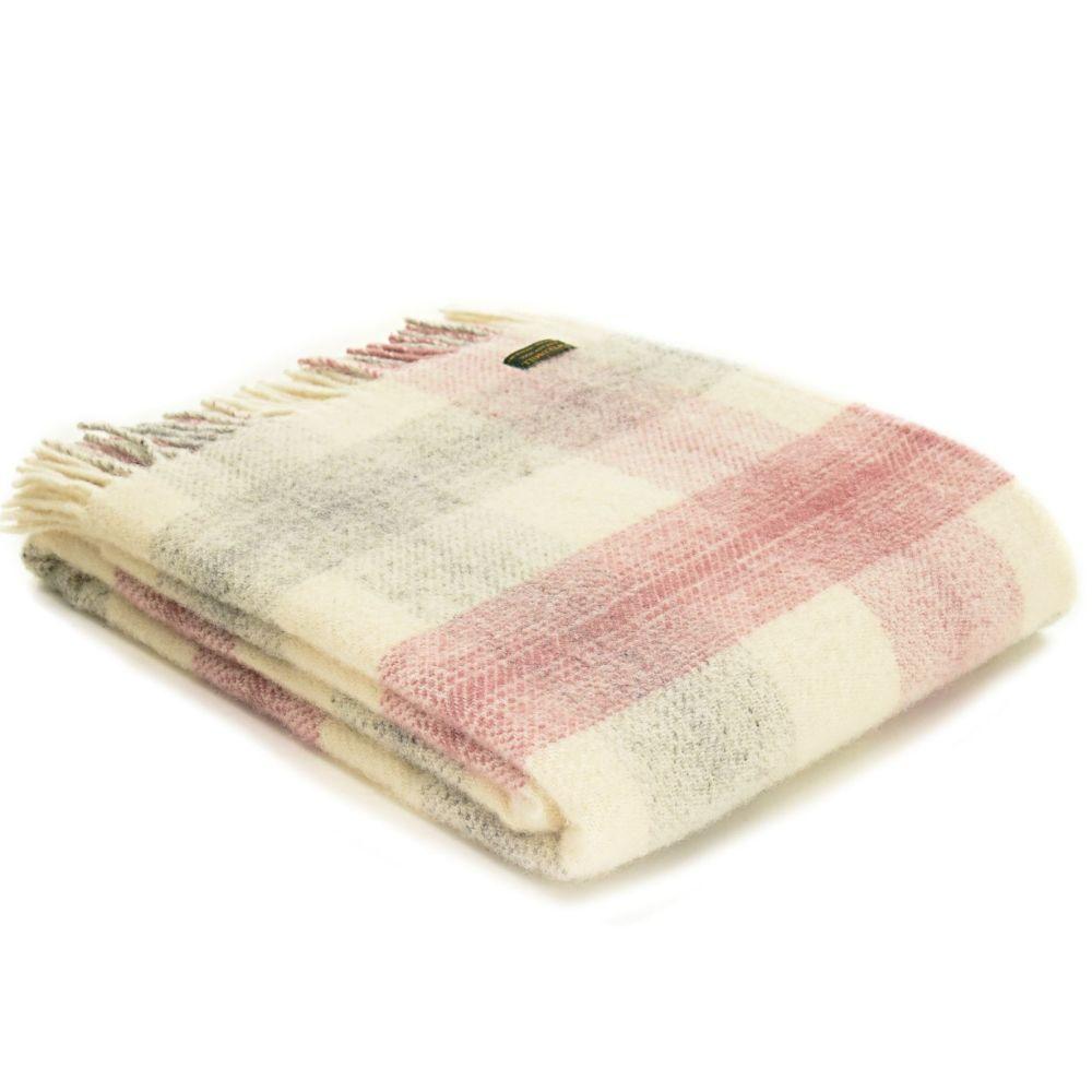 Tweedmill Meadow Check Dusky Pink Knee Rug or Small Blanket Pure New Wool