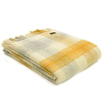 Tweedmill Meadow Check Yellow Knee Rug or Small Blanket Pure New Wool