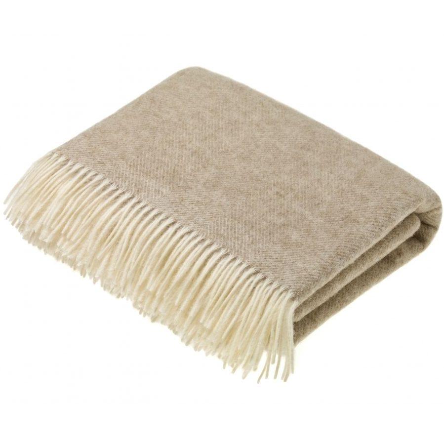 BRONTE by Moon Herringbone Throw Blanket Natural Beige Shetland Wool
