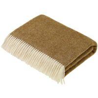 BRONTE by Moon Herringbone Throw Blanket Gold Shetland Wool