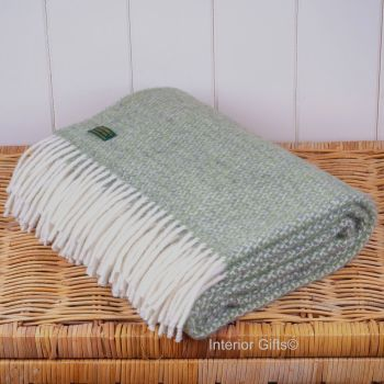 Tweedmill Subtle Green Ascot Knee Rug or Small Blanket Throw Pure New Wool
