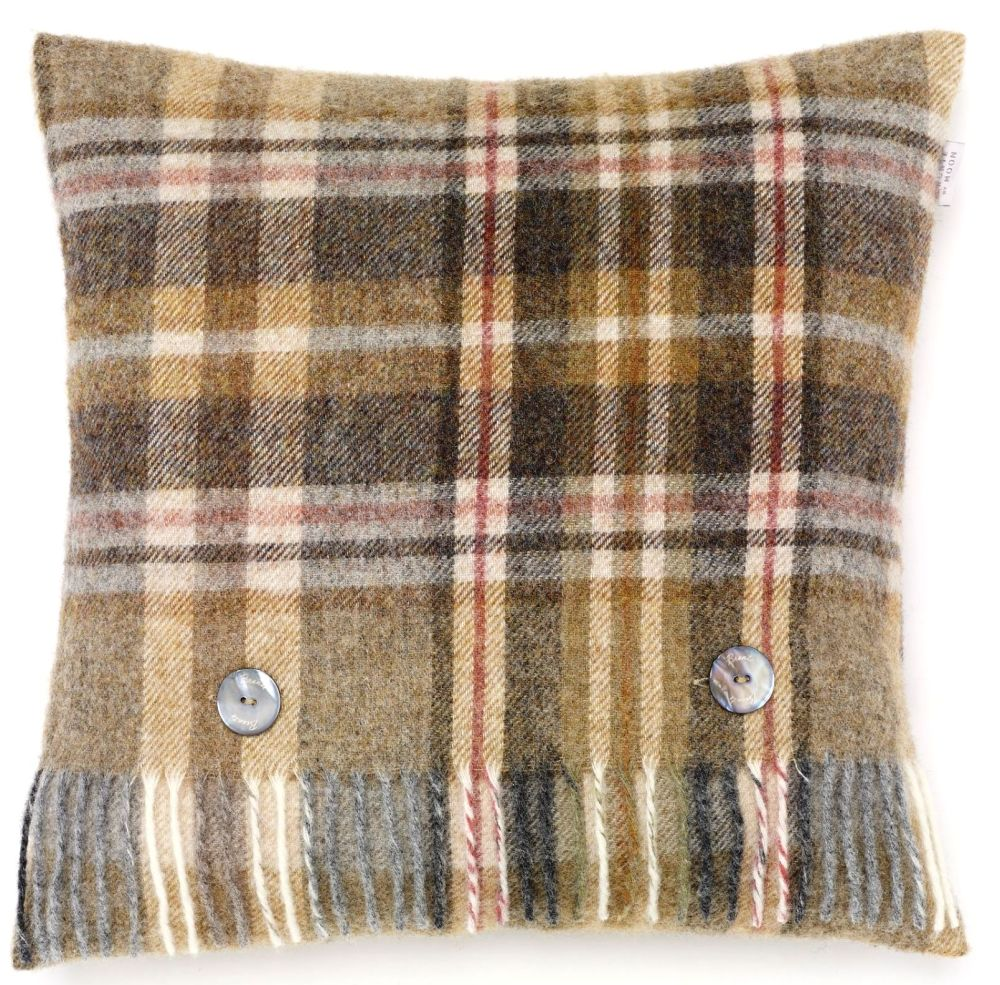 BRONTE by Moon Cushion - Glen Coe Mustard Check Shetland Wool