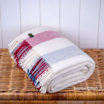 Tweedmill Herringbone Stripe Berry Cream Pure New Wool Throw Blanket