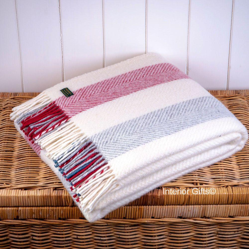 Tweedmill Herringbone Stripe Berry Cream Pure New Wool Throw Blanket