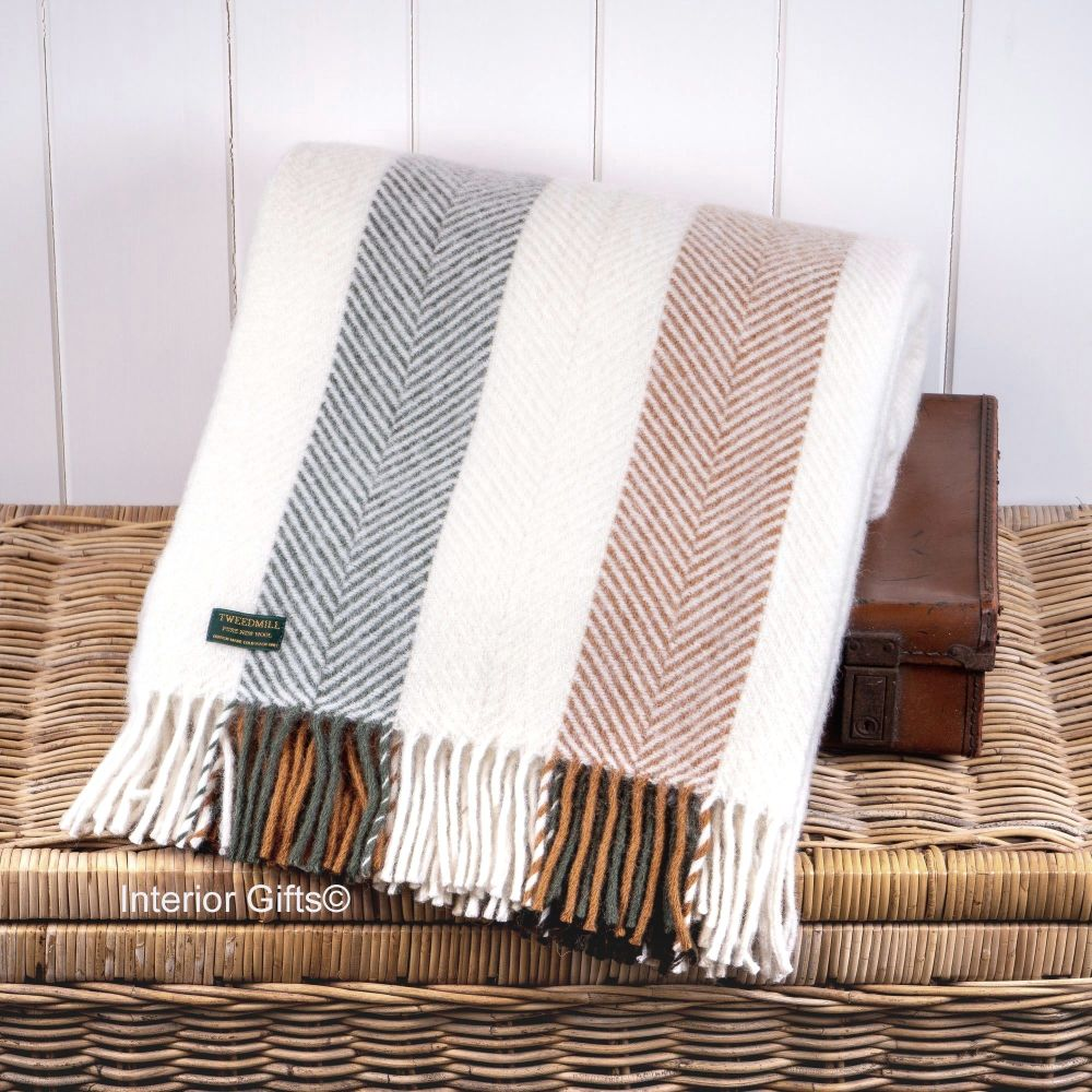Tweedmill Herringbone Stripe Woodland Cream Pure New Wool Throw Blanket