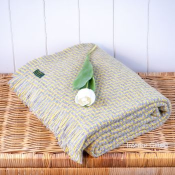 Tweedmill Arden Throw Buttercup & Grey Blanket Pure New Wool