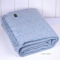 Tweedmill Arden Throw Duck Egg Blue & Grey Blanket Pure New Wool