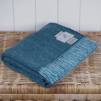 BRONTE by Moon Rich Teal Herringbone Throw in Supersoft Merino Lambswool