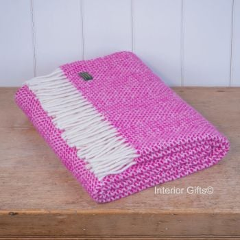 Tweedmill Cerise Honeycomb Knee Rug or Small Blanket Throw Pure New Wool