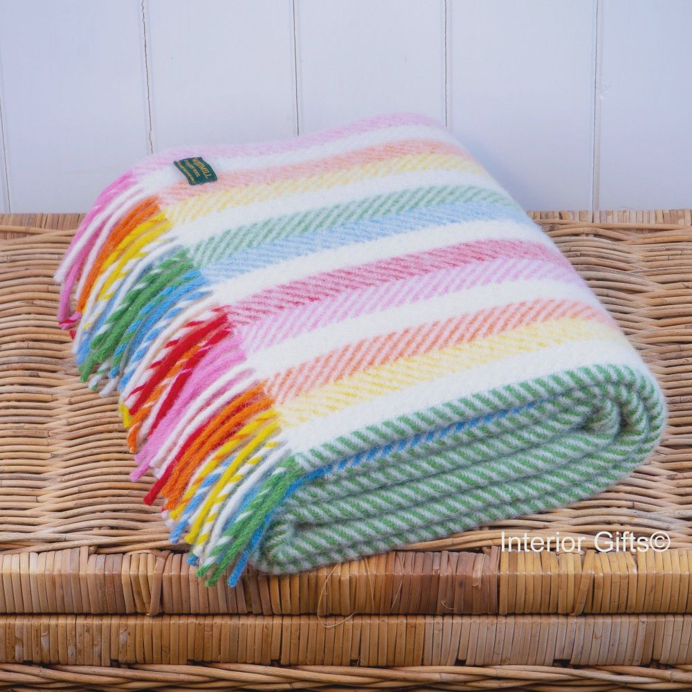 Tweedmill Herringbone Stripe Knee Rug or Small Blanket Pure New Wool