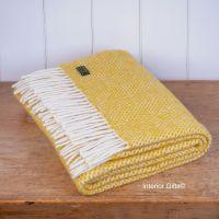 Tweedmill Lemon Yellow Honeycomb Knee Rug or Small Blanket Throw Pure New Wool