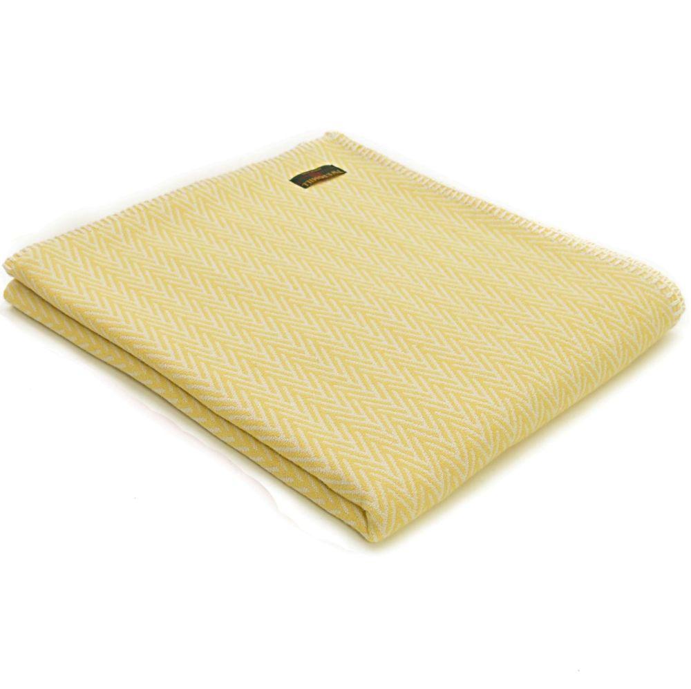 Yellow & White Organic Cotton Herringbone Throw