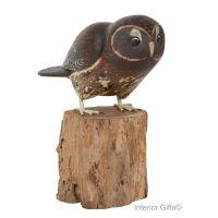 Archipelago Tawny Owl Taking Off Bird Wood Carving