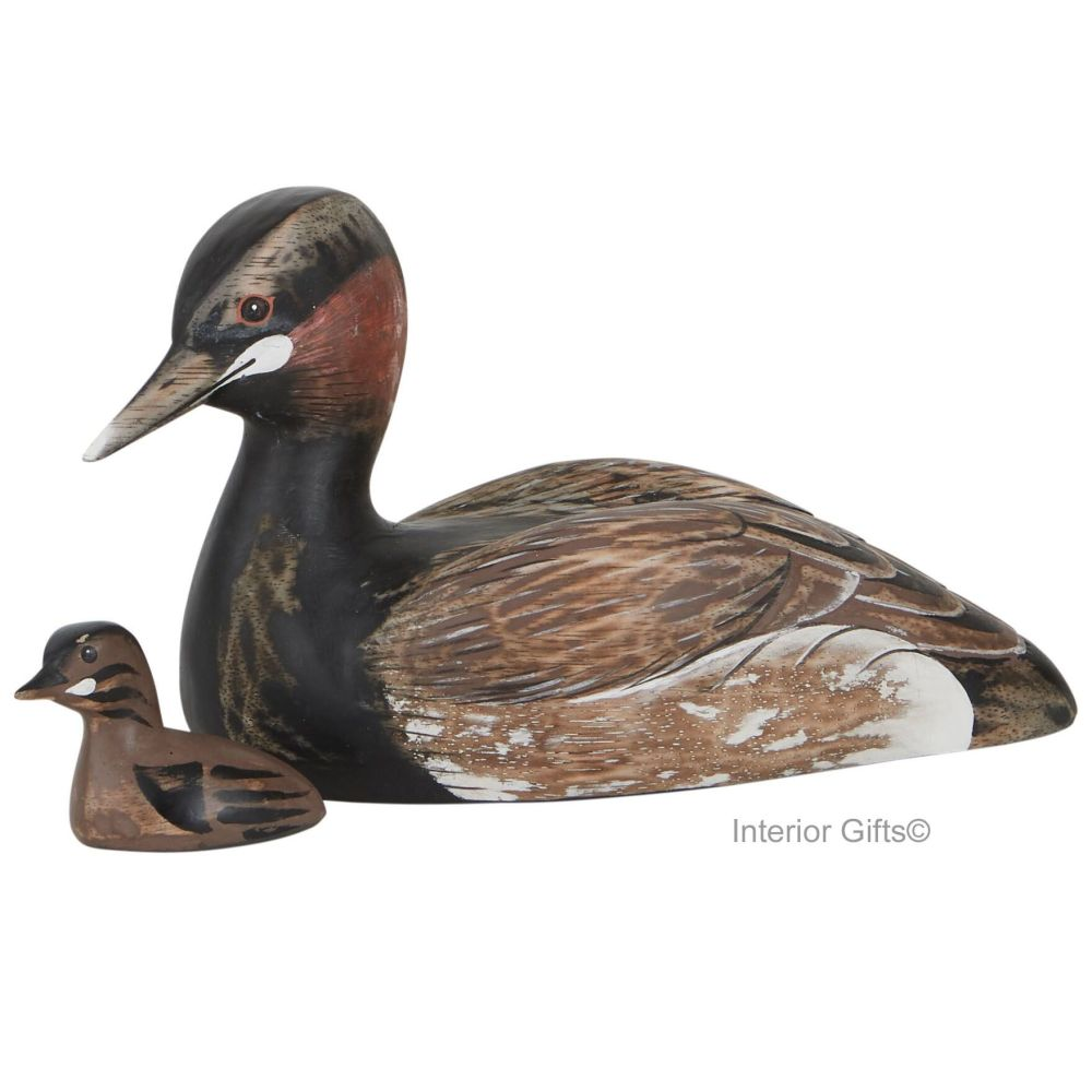 Archipelago Little Grebe with Chick  Bird Wood Carving
