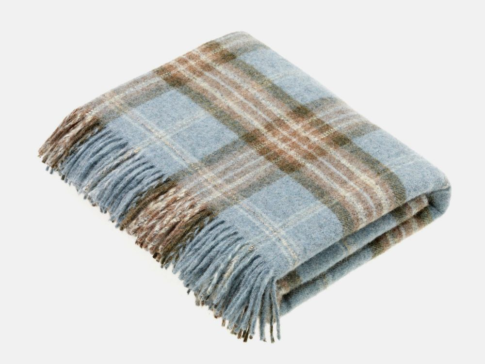 BRONTE by Moon National Trust Blue & Beige Throw in 100% Shetland Pure New
